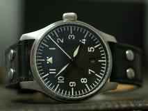 Montre de flieger de Stowa avec le bracelet en cuir Photos libres de droits