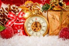 Montre de poche de Noël Photos libres de droits