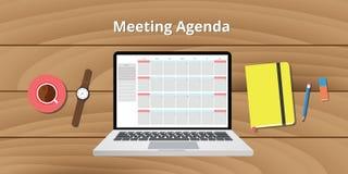 Montre en ligne de notes de carnet de calendrier d'ordre du jour de réunion Photographie stock libre de droits