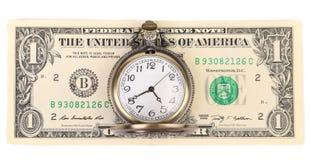 Montre et dollars de vintage Image libre de droits