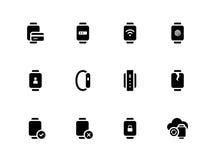 Montre intelligente avec des icônes de fonction de paiement sur le blanc Photos libres de droits