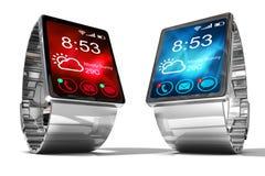 Montre intelligente Mobilité créative d'affaires et concept portable mobile moderne de technologie de dispositif Images libres de droits