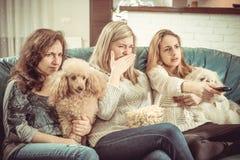 Montre TV à la maison photographie stock libre de droits