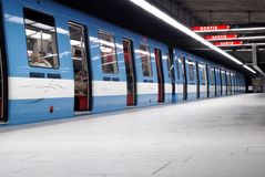 Montreal's Metro (Subway). This image shows a series of subway cars and was taken in Montreal, Canada Stock Photography