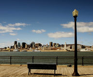 Montreal. Panoramic downtown view with bench Stock Photos
