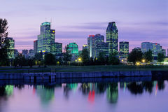 Montreal. Downtown view at night from Canal lachine royalty free stock images