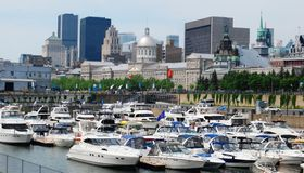 Montreal. Downtown Montreal Waterfront in Quebec, Canada royalty free stock images
