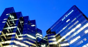 Montreal. National bank of paris office building at night Stock Photo