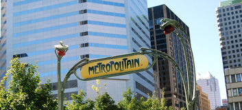 Montreal. Buildings and Metropolitain's sign in Montreal's downtown Stock Image