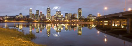 Montreal. Panoramic night view of Montreal city in Quebec, Canada royalty free stock images