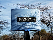 Montreal Biodome sign. The Montreal Biodome (French: Biodôme de Montréal) is a facility located at Olympic Park in the Montreal neighbourhood of Mercier– Stock Image
