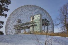 Montreal biosfera w zimie zdjęcie stock