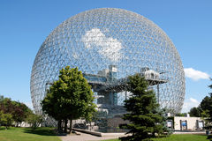 Montreal Biosphère. The geodesic dome called Biosphère is a museum in Montreal dedicated to water and the environment. It is located at Parc Jean-Drapeau, on Royalty Free Stock Image