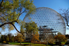 Montreal biosphere. Geodesic dome metal structure . Biosphere Montreal  landmark  science center pavilion biodiversity ecology . parc jean drapeau Quebec Canada Stock Image