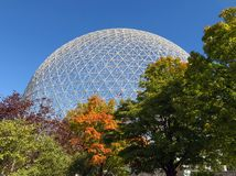 Montreal Biosphere in autumn. MONTREAL, CANADA - September 28, 2018: The Biosphere is a museum in Montreal dedicated to the environment. It was the pavilion of stock image