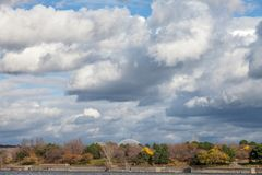 Montreal Biosphere, on Ile Sainte Helene Island, in Jean Drapeau park, taken during an autumn afternoon. stock images