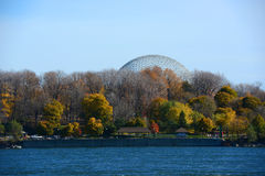 Montreal Biosphere in Montreal, Quebec, Canada. Montreal Biosphere was built for Expo 67 to display Canadian St. Lawrence Seaway river system on Saint Helens stock photography