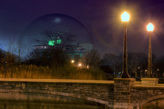 Montreal biosphere at night. In autumn stock photo