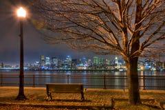 Montreal boardwalk at night royalty free stock image
