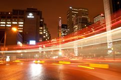 Montreal céntrica en la noche Foto de archivo
