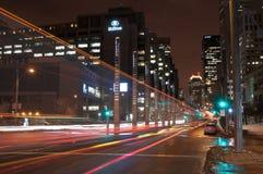 Montreal céntrica en la noche Imagen de archivo libre de regalías