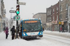 Commuters boarding a STM bus stock photo