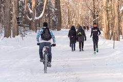 Montreal, CA - 17 December 2017: People running and riding a bike on snow in the Mont Royal Park stock photo