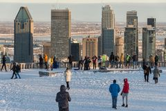Tourists looking at Montreal Skyline in winter stock photos