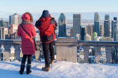 Couple looking at Montreal Skyl stock image