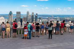 Tourists enjoying view of Montreal skyline royalty free stock photography