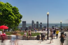 People looking at Montreal Skyline from Mont Royal lookout Stock Image