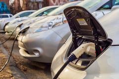 Montreal, CA, March 21th 2016. Electric cars charging at recharg Royalty Free Stock Photography