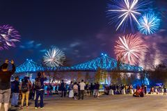 Jacques Cartier Bridge lights up for Montreal`s 375th stock photos