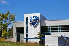 MONTREAL, CANADÁ - 23 de agosto de 2013: Estadio de Saputo el hogar del club del fútbol del impacto de Montreal del MLS Imagen de archivo libre de regalías