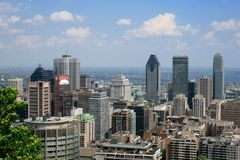 Montreal, Canadá - panorama da baixa foto de stock royalty free