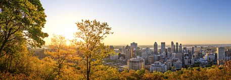 Montreal, Canada – 21 May 2018. Beautiful golden sunrise over. The Montreal city. Amazing panorama of Montreal downtown skyline in the morning hours royalty free stock photos