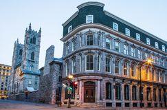 Notre Dame Basilica, streets and historical buildings in the historic site of Old Port from stock images