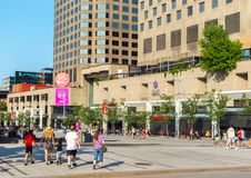 Central Place des Arts Square in Montreal downtown, Canada. Montreal, Canada - August 5, 2018: Central Place des Arts Square in Montreal downtown, Canada royalty free stock image