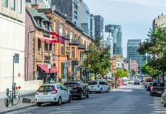 Crescent street in Montreal downtown, Canada stock image