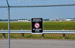 No drones zone sign and airplane. MONTREAL, CANADA - AUGUST 28, 2017 : No drones zone sign and airplane at Montreal YUL airport stock images