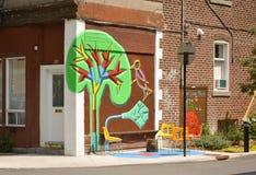 MONTREAL, CANADA - AUGUSTUS 20, 2014: de graffiti van de straatkunst Parkimitatie Royalty-vrije Stock Foto