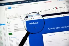 Coinbase cryptocurrency exchange Royalty Free Stock Photo