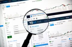 Cryptocurrency Yobit.net exchange Royalty Free Stock Photography