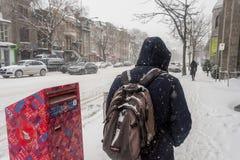 Pedestrian walking on Saint Denis Street during first snow storm stock photos