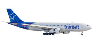 Montreal, Canada - February 12, 2012: Air Transat side view land Stock Photos