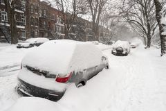 Cars covered with snow during snow storm royalty free stock image