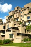 Famous housing complex in Montreal nammed Habitat 67. MONTREAL, CANADA - JULY 15, 2017:  Habitat 67 is a housing complex in Montreal of 354 identical Royalty Free Stock Image