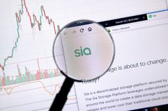 Siacoin home page. MONTREAL, CANADA - JUNE 20, 2018: Siacoin crypto currency home page. Cryptocurrency is a digital currency in which encryption techniques are royalty free stock photography
