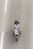Montreal, Canada - June 07, 2015: Two mans riding a motorbike in Stock Photos