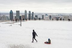 Montreal Skyline in winter. Montreal, Canada - 25 March 2017: Montreal Skyline in winter from Kondiaronk Belvedere stock image